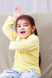 Funny girl in yellow Royalty Free Stock Images