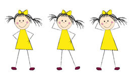 Funny girl in yellow dress Stock Photo