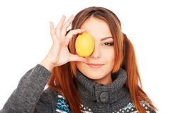 Funny girl with yellow lemon Stock Images