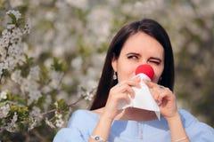 Funny Girl z Czerwonym nosem od wiosen alergii zdjęcia royalty free