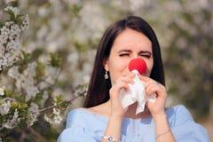 Funny Girl z Czerwonym nosem od wiosen alergii obrazy royalty free