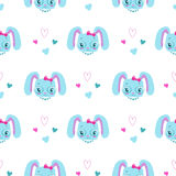 Funny girlish seamless pattern with cute bunny Stock Photography