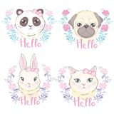Funny Girlish Seamless Pattern With Cute Kitty, Dog, Rabbit, Faces. Stock Images
