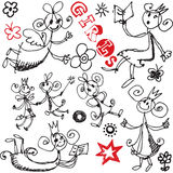 Funny girls doodles, hand drawn design elements Royalty Free Stock Images