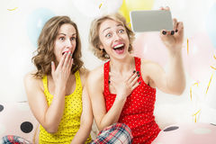 Funny girls friends having fun Stock Image
