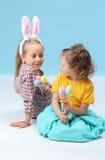 Girls with rabbit ears Stock Image
