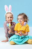 Girls with rabbit ears Stock Photos