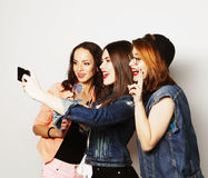 Funny girls, ready for party. Teen funny girls, ready for party, selfie Royalty Free Stock Photography