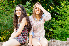 Funny girls sitting on a trunk Stock Photos