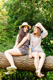 Funny girls sitting on a trunk Royalty Free Stock Photography
