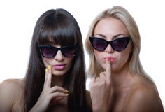 Funny girls in sun glasses Stock Image
