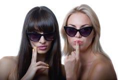 Funny girls in sun glasses Stock Image