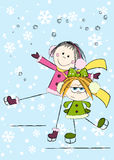 Funny girls. On winter background Royalty Free Stock Images
