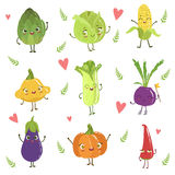 Funny Girly Design Vegetables Collection. Of Adorable Flat Cartoon Humanized Vector Drawn Characters Stock Images