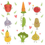 Funny Girly Design Vegetables Set. Of Adorable Flat Cartoon Humanized Vector Drawn Characters Stock Photos