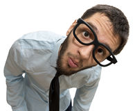 Funny glasses businessman closeup Stock Photography