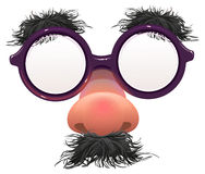Funny glasses nose. Surface nose and glasses. Black eyebrows, mustache. 1 April Fools Day Royalty Free Stock Photography