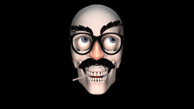 Funny Glasses on a Skull. An animation of a skull making funny faces while wearing funny disguise glasses and eating a sucker. For use as a filler or short royalty free illustration