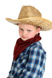 Funny glraing young cowboy wearning hat and bandan Stock Image