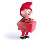 Funny Gnome With Christmas Gift Box Stock Photo