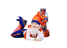 Funny gnome with presents Stock Images