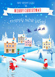 3 funny gnomes, snowman and winter landscape. Christmas image.vector illustration vector illustration