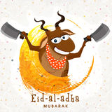 Funny goat with chopper for Eid-Al-Adha. Funny goat holding choppers on floral design decorated background for Islamic Festival of Sacrifice, Eid-Al-Adha Stock Images