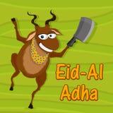 Funny goat with chopper for Eid-Al-Adha. Funny goat holding chopper on stylish green background for Islamic Festival of Sacrifice, Eid-Al-Adha celebration Stock Photo