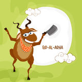 Funny goat with chopper for Eid-Al-Adha. Royalty Free Stock Photography