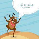 Funny goat for Eid-Al-Adha celebration. Funny goat on stylish blue background for Islamic Festival of Sacrifice, Eid-Al-Adha celebration Royalty Free Stock Image