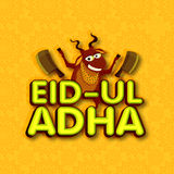 Funny goat for Eid-Ul-Adha celebration. Funny goat with choppers on floral design decorated background for Muslim community Festival of Sacrifice, Eid-Ul-Adha Royalty Free Stock Photography