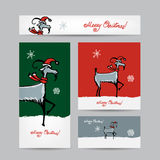 Funny goat santa. Christmas cards 2015 design. Vector illustration royalty free illustration