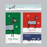 Funny goat santa. Christmas cards design Stock Photo