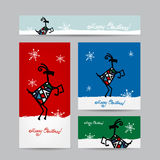 Funny goat santa. Christmas cards design Royalty Free Stock Image