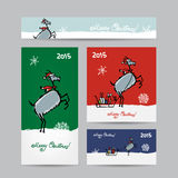 Funny goat santa. Christmas cards design. Vector illustration Royalty Free Stock Image