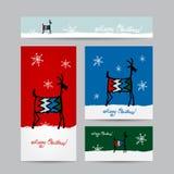 Funny goat santa. Christmas cards design Stock Photos