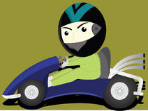 The funny gokart. The man wearing a helmet riding a go-kart Stock Photos