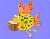 Funny gold fish with book. Funny goldfish with wings reading a book Stock Images