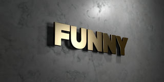 Funny - Gold sign mounted on glossy marble wall  - 3D rendered royalty free stock illustration Royalty Free Stock Photography