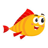 Funny golden fish character with human face interested in something. Cute, funny golden, yellow fish character with human face rushing, swimming somewhere Stock Photos
