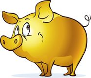 Funny golden pig symbol of abundance and prosperity - vector illustration. Character Stock Images