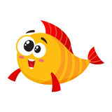 Funny golden, yellow fish character with smiling happy, human face Stock Photos