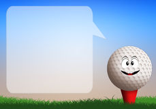 Funny golf ball with comic Royalty Free Stock Photo