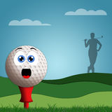 Funny golf ball on golf course. An illustration of Funny golf ball on golf course Stock Photography