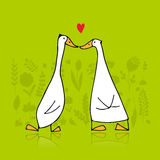 Funny goose couple, sketch for your design Royalty Free Stock Image
