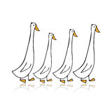 Funny goose family, sketch for your design Stock Photography