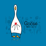 Funny goose, sketch for your design Stock Image