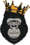 Funny gorilla head. Vector illustration, Funny gorilla head on with crown,King of monkeys, on white background Stock Photo