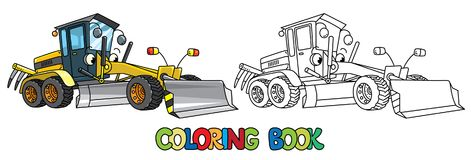Funny grader car with eyes. Coloring book Stock Photography