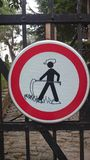 Funny graffit on traffic sign. Graffit on the traffic sign forbidden for pedestrian Royalty Free Stock Images